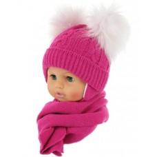Czapeczka zimowa niemowlęca 38-40 ciemno różowa